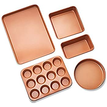 Amazon Com Gotham Steel 5 Piece Copper Bakeware Set With