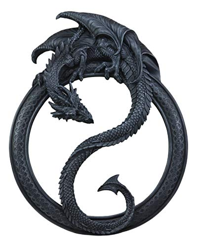 Ebros Feng Shui Yin Yang Harmony Celestial Black Dragon Wall Hanging Mirror -