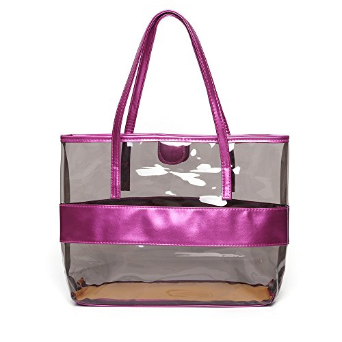 Waterprof Semi clear Shoulder Tote LOVE Beach Versatile Stripe FANCY Violet Bag Light TqwEax