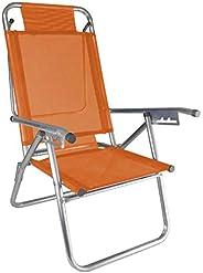 Cadeira de Praia Alumínio Reforçada 5 Posições Infinita UP Laranja Zaka 120 KG