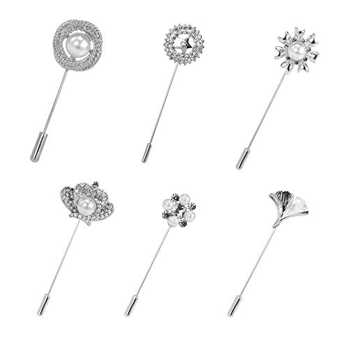 Scarf Lapel Brooch Pin - Mamfous 6pcs/set Metal Stick Lapel Pins for Men Women Suit Scarf Brooch Pin (silver)