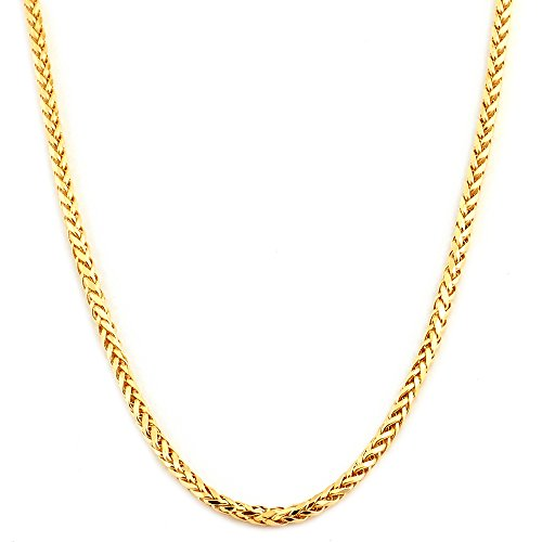 (Mr. Bling 14K Yellow Gold 2.5mm Palm Chain Necklace with Lobster Lock (26