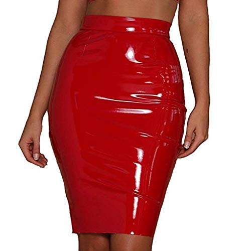 3c36857fe5 inhzoy Women's Shiny Liquid Metallic Wet Look PVC Leather Bodycon  Knee-Length Pencil Mini Skirts Red Large