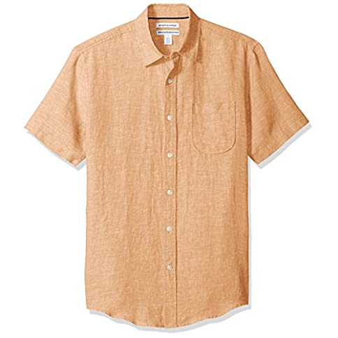 Amazon Essentials Men's Slim-Fit Short-Sleeve Linen Shirt - 41qtaCFgtxL - Amazon Essentials Men's Slim-Fit Short-Sleeve Linen Shirt