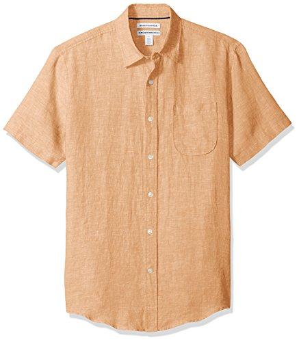 Amazon Essentials Men's Slim-Fit Short-Sleeve Linen Shirt, Orange, Large