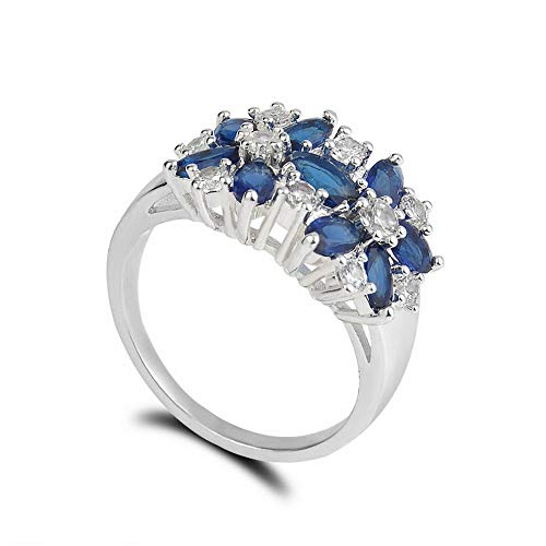 Wausa Women 925 Silver Jewelry Charm Aquamarine White Sapphire Wedding Ring Jewelry | Model RNG - 10404 | ()