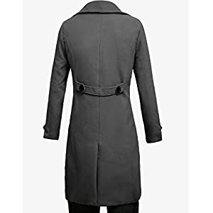 Lende Men's Trench Coat Winter Long Jacket Double Breasted Overcoat,Grey,Medium