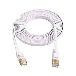 LIQUN Cat7 Flat Ethernet Cable, 10 Gigabit Ethernet Ultra Flat Patch Cable for Modem Router LAN Network Playstation Xbox - Built with Gold Plated & Shielded RJ45 Connectors (16Feet/5m- White)