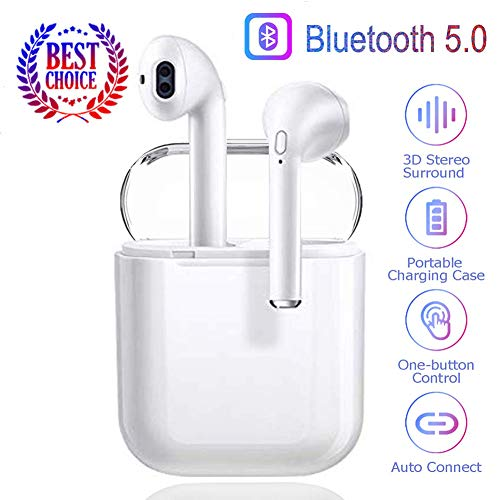 Bluetooth 5.0 Wireless Earbuds Noise Canceling Sports 3D Stereo Headphones with 24Hr Playtime IPX5 Waterproof, simple pairing, Built-in Binaural Mic Headset for Android iPhone Apple Airpods