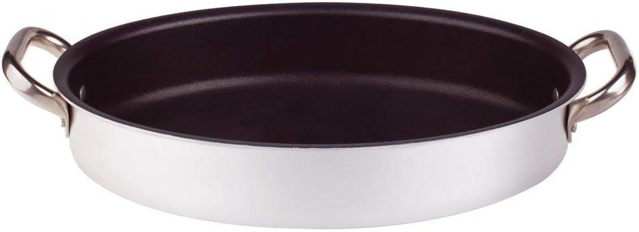 Acier Inoxydable 30 cm Argent Agnelli Casserole Platine Poisson Ovale avec 2/poign/ées en Acier Inoxydable Argent