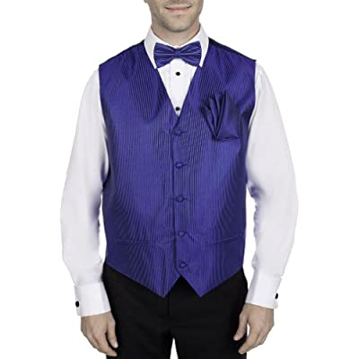 Royal Blue Tuxedo Vest with Bow Tie and Pocket Square Set supplier