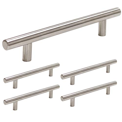 homdiy Cabinet Pulls Brushed Nickel 5 Pack Brushed Nickel Cabinet Handles 5in Hole Center - HD201SN Bathroom Cabinet Hardware Pulls Brushed Nickel Metal Drawer Pulls for Kitchen, Closet, - Inch Drawer 5 Pull