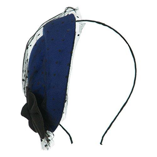 Felt Round Crown Fascinator Headband - Blue OSFM
