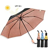 Kobold Ballet Parasol Umbrellas With 3 Folding Windproof Waterproof Anti-UV Lightweight Umbrella For Unisex, New and Unique Travel Compact (Pink)