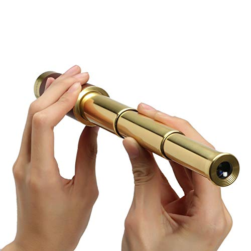 F.DORLA Pirate Brass Telescope, 25x30 Zoomable Spyglass Collapsible Pirate Monocular Telescope Scope Night Version Monocular for Kids Travel, Hiking, Hunting, Pirate Navigation