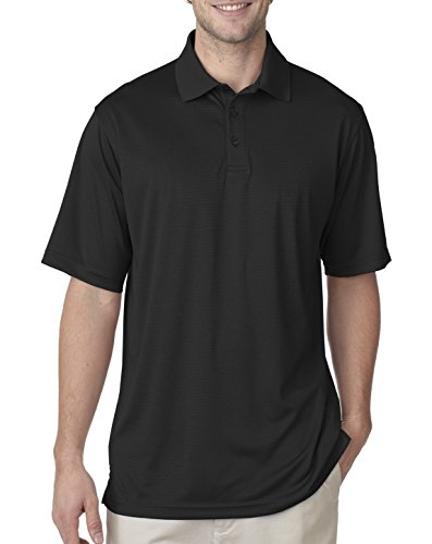 (UltraClub 8220 Mens Cool & Dry Jacquard Stripe Polo Black X-Large)