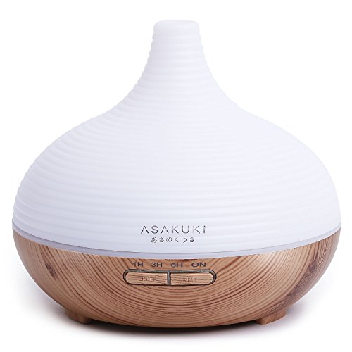 - ASAKUKI 300ML Premium, Essential Oil Diffuser, Quiet 5-In-1 Humidifier, Natural Home Fragrance Diffuser with 7 LED Color Changing Light and Easy to Clean