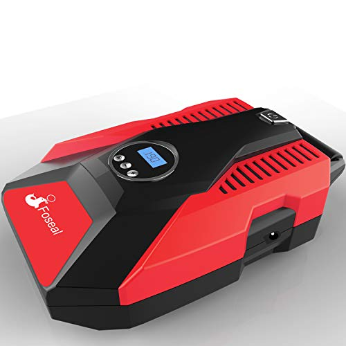 Foseal 1 Red Portable Air Compressor, 12V DC Digital Inflator 150 PSI Auto Shut-Off Easy to Use Pump with Emergency Led Light and Long Cable for Car Motorcycle Bicycle/Schrader Tires Ball by Foseal (Image #8)