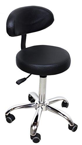 Hydraulic Stool with Backrest, Hardwood Safe, (Black)
