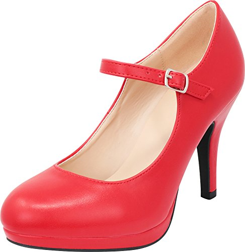 (Cambridge Select Women's Closed Round Toe Mary Jane Buckled Strap Platform High Heel Pump,9 B(M) US,Red PU)