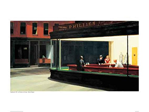 Close Up Nighthawks Poster Edward Hopper (Printing), QF (80cm x 60cm) + 1 Pack tesa powerstrips, 20 Pieces (Art Institute Of Chicago Most Famous Paintings)