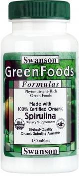 100% Certified Organic Spirulina 500 mg 180 Tabs