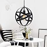 island pendant lights KingSo Industrial Metal Pendant Light, Spherical Pendant Light, Rustic Chandelier Vintage Hanging Cage Globe Ceiling Light Fixture for Kitchen Island Dining Room Farmhouse Entryway Foyer Table Hallway