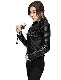 Women's Faux Leather Biker Jacket Slim Short Coat Zipper Moto Jackets