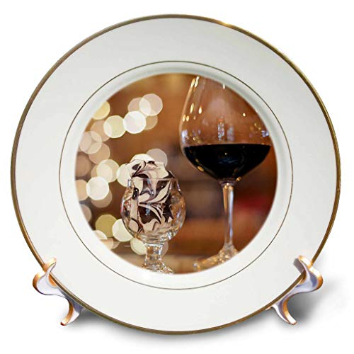 3dRose Stamp City - Still Life - Photograph of a Glass of red Wine and Some Tasty Toffee in a Glass. - 8 inch Porcelain Plate (cp_302461_1)