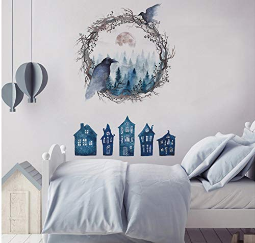 Amazing Halloween Ghost House Wall Stickers Home Decor Removable Living Room Furniture Bird Wall Decals ()