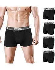EKQ Mens Boxer Shorts Multipack Underwear Men's Boxers Briefs Trunks for Men Cotton Breathable Open Fly Pouch 4 Pack S M L XL XXL Black Grey Navy Blue