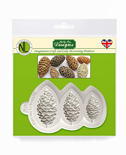 Katy Sue Pine Cones Silicone Sugarpaste Icing Mold, Nicholas Lodge for Cake Decorating, Sugarcraft, Candies, Crafts, Cards and Clay, Food Safe