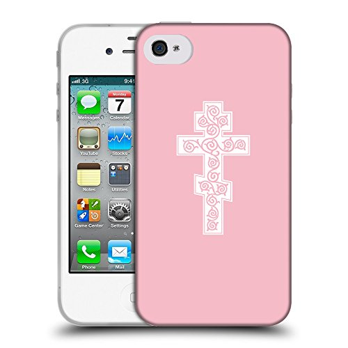 GoGoMobile Coque de Protection TPU Silicone Case pour // Q09340630 Croix chrétienne 44 Rose // Apple iPhone 4 4S 4G