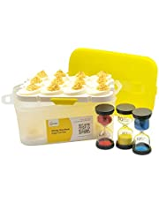 Deviled Egg Tray with Lid + Egg Timer, Designed to Hold 24 Deviled Eggs, 2 Removable Deviled Egg Plates Fit Devil Egg Perfectly, Lightweight, Small, Easy To Clean, Transport Devil Eggs Easily