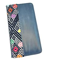 Porta pasaporte de Piel Azul Marca AngeLozano Original 21x10x1cm