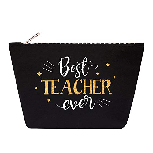 ElegantPark Best Teacher Ever Teacher Appreciation Gifts Teacher Makeup Bag Teacher Gifts for Women Cotton Black Teacher…