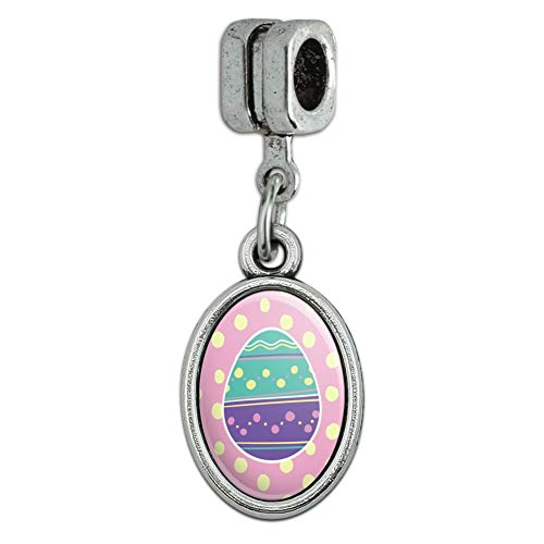 GRAPHICS & MORE Cute Easter Egg Turquoise Purple Polka Dots Italian European Style Bracelet Oval Charm Bead
