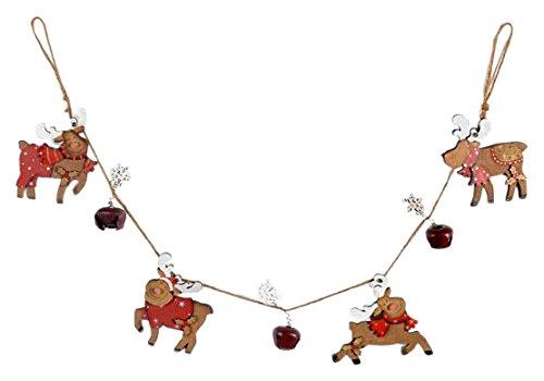 H&H 8524900Garland Reindeer, Wood, Multicoloured