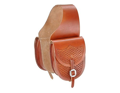 (Tough 1 Leather Saddle Bag with Basket Stamp, Med. Tan)
