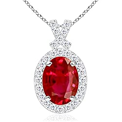 July Birthstone - Vintage Inspired Diamond Halo Oval Ruby Pendant Necklace for Women