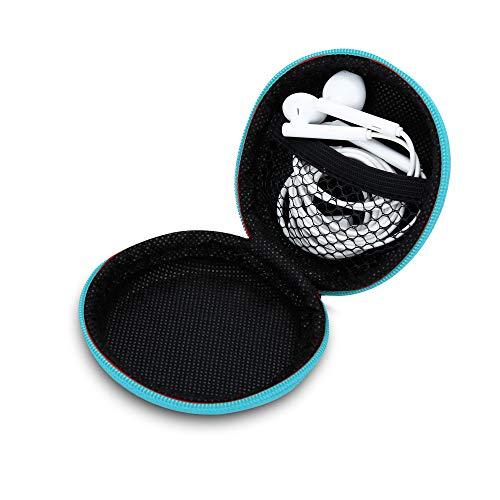 Cadorabo Kopfhörer Aufbewahrungsbox in HELLBLAU – Runde Robuste Tasche aus formstabilem Stoff mit Netzfach und…