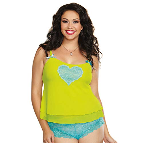 Dreamgirl Women's Plus-Size Sheer Stretch Mesh Camisole, Lime/Turquoise, 1-2X