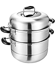 MANO 2-Tier Stainless Steel Steamer Pot 12 Inch Steam Pot Set Cooking Pot with Lid Multipurpose Cookware Pots Stock Pot Sauce Pot with Handle 100pcs Parchment Paper