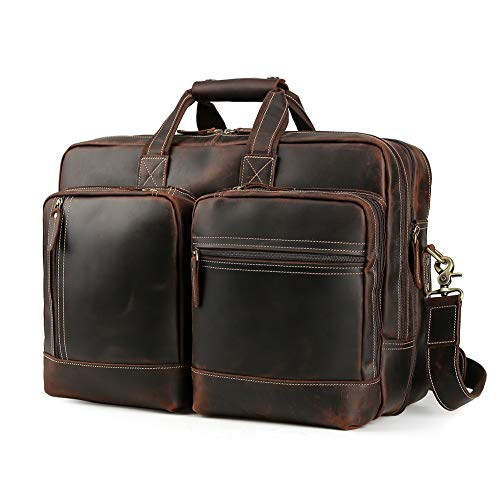 Men's Vintage Leather Messenger Satchel Casual Multi-Purpose School Case Tablet Travel Weekender Business 17 Inch Laptop Computer Handmade Briefcase Shoulder Crossbody Bag Tote Handbag Luggage Brown
