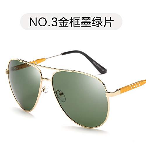 de Moda de Sol green de Sol Burenqiq Verde conducción Negro la frame de de Espejo Gafas dark los Polarizador Marco Espejo Oscuro Gafas Gold Hombres film Rana de polarizadas Hombres los de AAPB867
