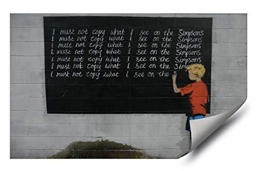(Banksy Street Graffiti Bart Simpson Chalkboard HD Vinyl Wall Art Poster Decal Sticker)