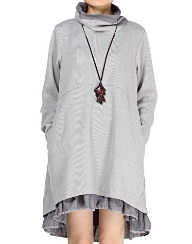 Mordenmiss Women's New Turtle Neckline Two Layers Hi-low Hem Dress XL Gray -
