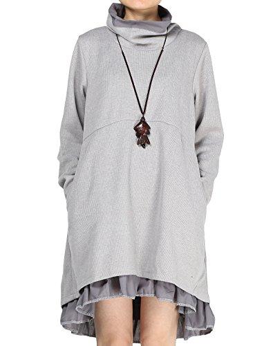 Knit Dress Ruffle (Mordenmiss Women's Flared Layers Dress Hi-Low Ruffle Hem Tunic Top S Gray)