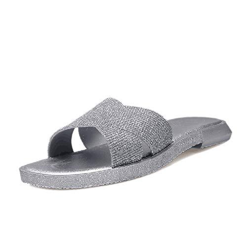 Sherostore ♡ Womens Sandals,Casual Criss Cross Slide-On Open Toe Platform Sandals Summer Slippers Flatform Sandal Silver