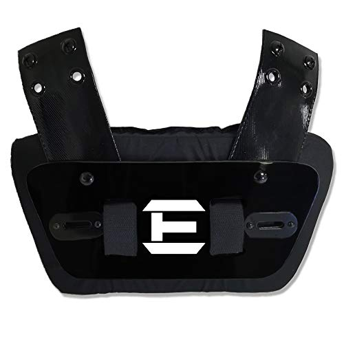 EliteTek Sports - Universal FIT for All Shoulder Pads - Football - Back Plate - Sternum Plate - Youth & Adult Sizes - Adjustable & Removable (Black & White, Youth Back Plate) ()